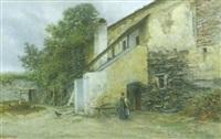 innenhof mit figürlicher staffage by wilhelm ambros