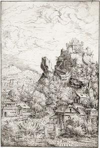 landschaft mit burg (from portfolio of 12 landscapes) by hans sebald lautensack