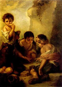 urchins playing with dice and eating in a landscape by robert von stutterheim