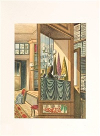 lieux communs (set of 12 watercolor collage reproductions) by max ernst
