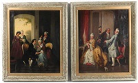 salon interiors, aristocratic flirtations (pair) by continental school (19)