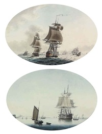shipping in the channel off dover (+ a calm day in the channel; pair) by samuel atkins