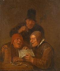 three men in an interior by egbert van heemskerck the elder