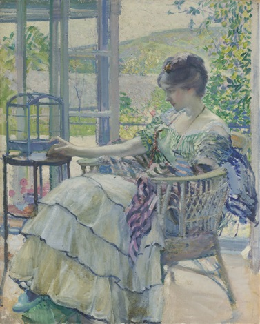 contemplation woman seated next to birdcage by richard edward miller