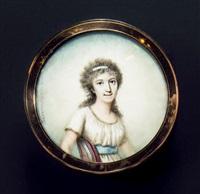 portrait de la comtesse d'estouilly, riche propriétaire terrien assise en buste de trois-quarts vers la droite by thouesny