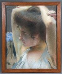 femme pensive aux bras levés by albert besnard