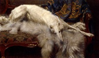 a lady of quality - a borzoi on a chaise longue by william frank calderon