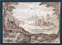 paysage fluvial avec église et château fort by joos de momper the younger