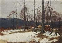 winterlicher holzschlagplatz im wald by christoffer johann drathmann