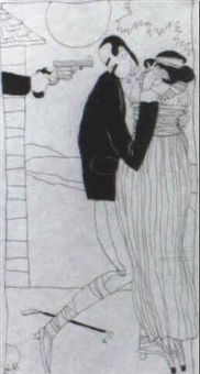 gag cartoon: gun pointed at man's head as he holds woman by ralph barton