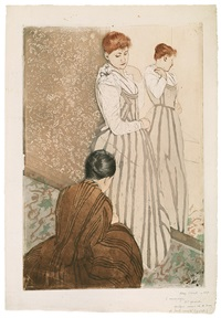 the fitting - young woman trying on a dress by mary cassatt