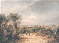 view of london from hampstead with a distant view of st.pauls by charlotte nasmyth