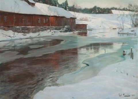 fabrikk ved lysakerelven by frits thaulow