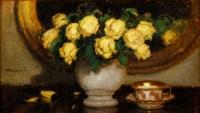 żółte róże z filiżanką by alfons karpinski