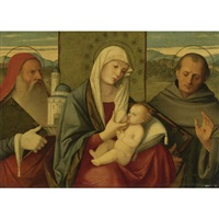 madonna and child with st. jerome and st. francis by girolamo da santacroce