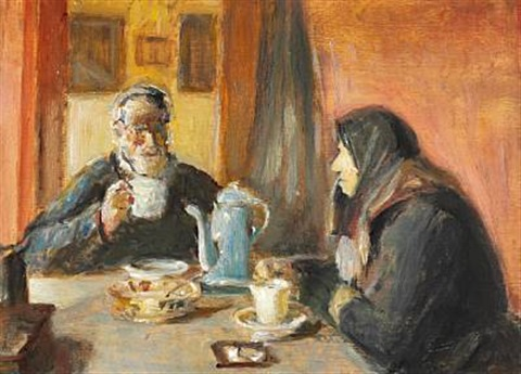 interior with an elderly couple drinking a cup of coffee by michael peter ancher