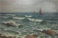 boats off shore by william adam