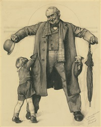 study for little boy reaching into grandfather's overcoat (grandpa's surprise; puppy in the pocket; the gift) by norman rockwell