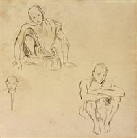 deux études d'indiens et croquis de tête by eugène delacroix