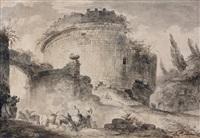 villageois et troupeau devant les ruines du mausolée de cecilia metella by hubert robert