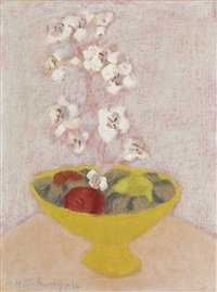 tender still life (bowl with orchids) by milton avery