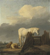 a grey horse at a gate with sheep by adriaen van de velde
