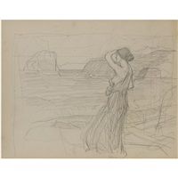 miranda (study) (+ slight sketches of tree trunks, verso) by john william waterhouse