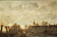 figures on a canalside by egbert lievensz van der poel