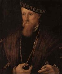 portrait of a gentleman, wearing a fur cape, necklace... by steven van der meulen