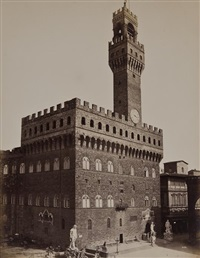 views of the palazzo della signoria and bargello, florence (5 works) by fratelli alinari