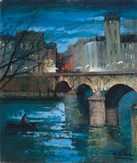 evening by the river seine in paris by marguerite de corini