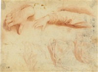 studies of hands and drapery by cesare dandini