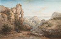 chasseur et chien dans un paysage by jean baptiste françois arnaud-durbec