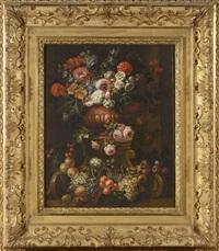 bouquet de fleurs dans un vase sur un entablement de pierre by gaspar pieter verbruggen the younger
