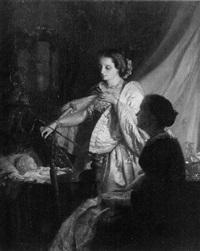femmes près d'un berceau by pieter willem sebes