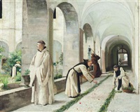 monks gardening in hautecombe abbey, savoy by louis joseph anthonissen