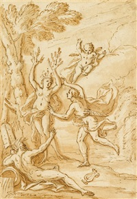 apollo and daphne; and classical scene (2 works) by sir james thornhill