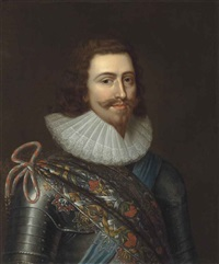 portrait of george villiers (1592-1628), 1st duke of buckingham, half-length, in armour and a ruff, wearing a multi-coloured baldric and... by balthazar gerbier d'ouvilly