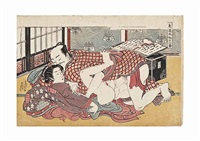 a shunga design from the series shikido torikumi juniban (twelve bouts in the way of love), depicting an amorous couple in an elegant interior by isoda koryusai