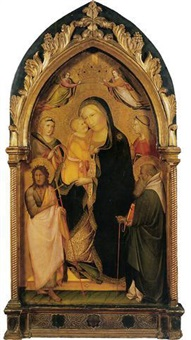 the madonna and child with saints catherine of alexandria, john the baptist, mary magdalen and anthony abbot by agnolo di taddeo gaddi