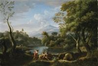 paysage animé de personnages by jan frans van bloemen