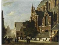 a dutch street scene by hubertus van hove