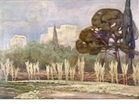view of the acropolis by konstantinos maleas