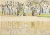 pond in spring (wade park, cleveland) by charles ephraim burchfield