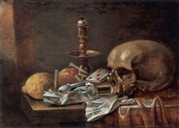 a vanitas still life with a skull, playing-cards, a candlestick, a music score, a lemon and smoking utensils by hendrick andriesz