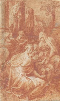 the holy family with saint elizabeth and the infant baptist by parmigianino