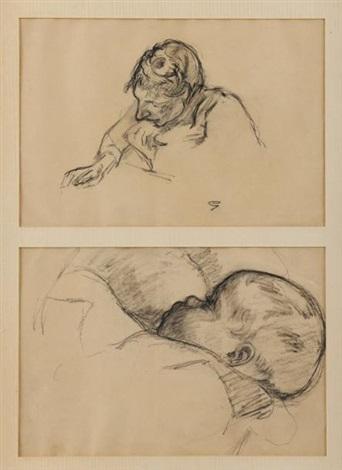 etude de tête de femme et etude dun petit enfant dans les bras de sa mère 2 studies by armand guillaumin