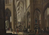 intérieur d'église animé by frans francken and pieter neefs the elder