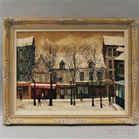 montmartre street scene in snow by andré renoux