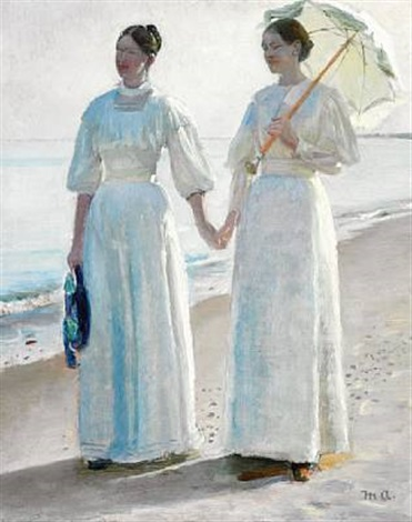 minne and sophie holst in light summer dresses on skagen beach study for strandpromenade or holst døtrene på skagen sønderstrand by michael peter ancher